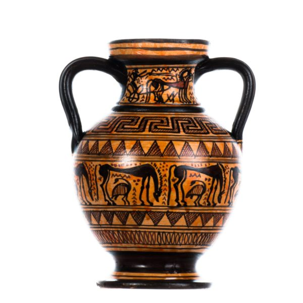 Ancient Greek Amphora Geometric Art Copy Museum Ceramic Pottery Vase Handmade 6 Inches
