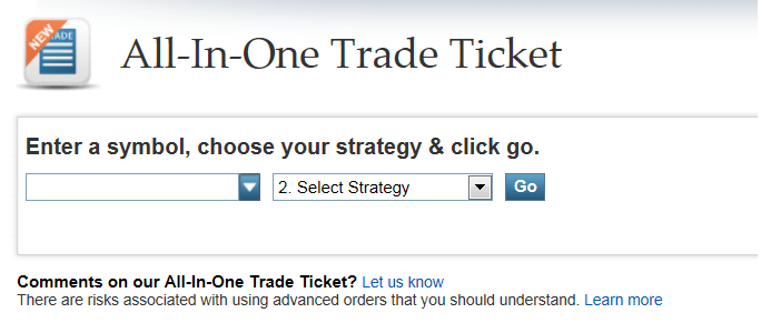 OptionsXpress Trade Ticket