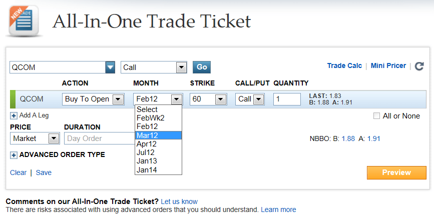 Stock options limit order