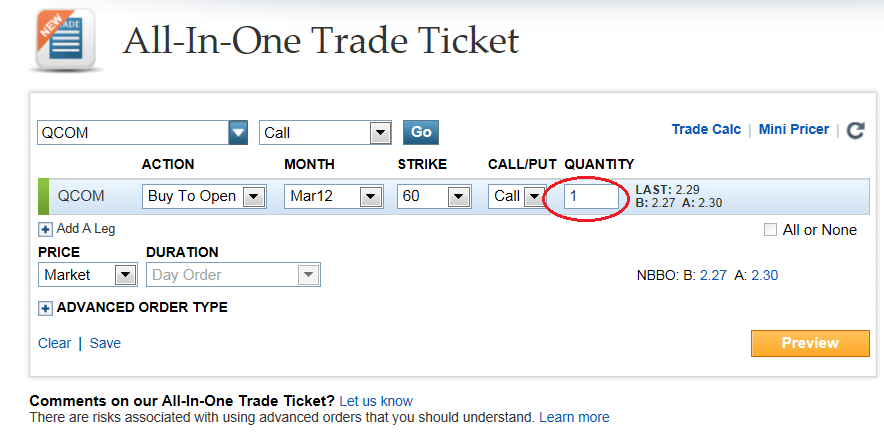 Stock options number of contracts