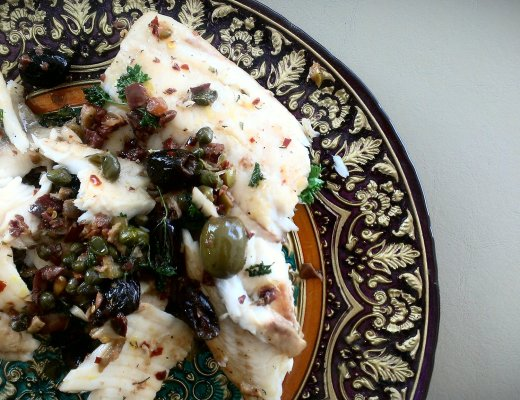 Tilapia with olives, capers, & lemon