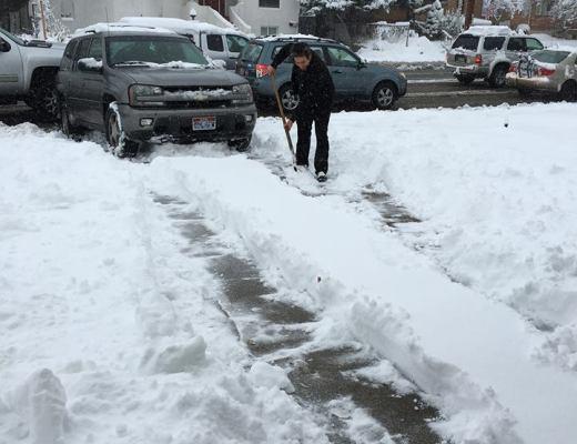 shoveling husband