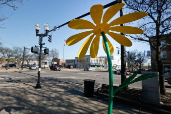 The Green-Headed Coneflower Sculpture is located at 102 N. Main St. in Wadsworth.