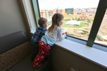 Sam and Bekah check out the expansive views from a NICU room