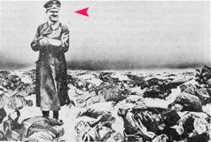 Forged Hitler standing among holocaust victims