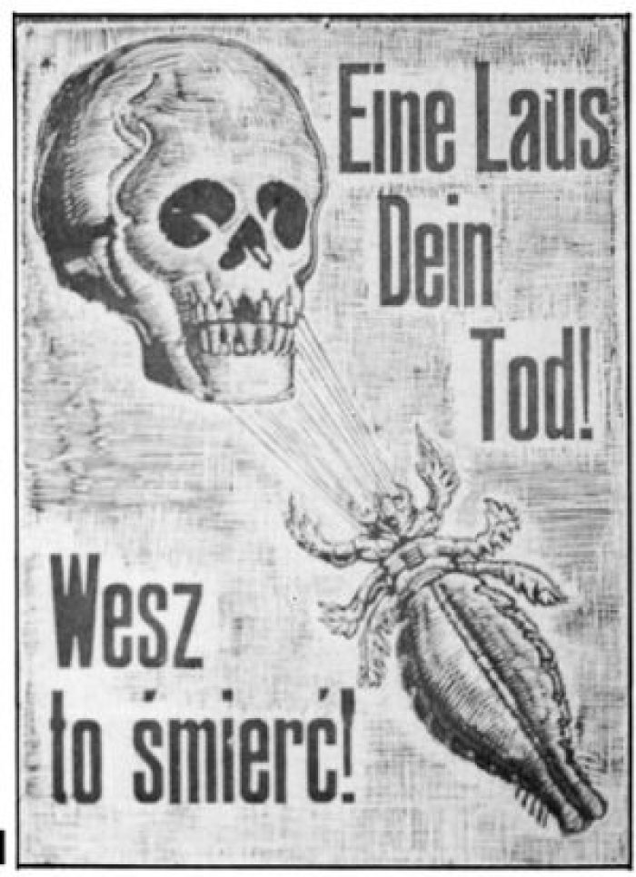 Sign at Auschwitz: One louse means death
