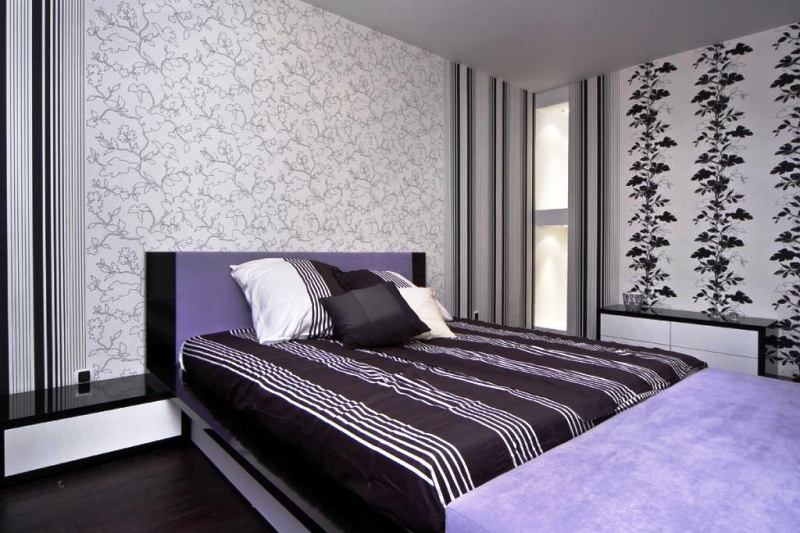 обои для спальни фото дизайн 2019 года комбинировать 2