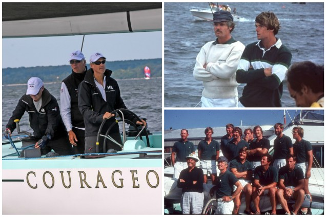 Clockwise from left: Arthur Santry at the helm of Courageous (US-26) with Gary Jobson behind him (Photo Credit: SallyAnne Santos/Windlass Creative); Gary Jobson and Ted Turner in 1977; the winning Courageous crew in 1977 (Photo credits both: courtesy of Gary Jobson).