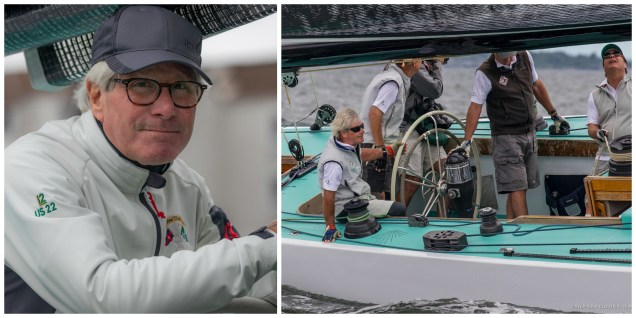 From left: Jack Curtin, owner of Intrepid (US-22) after an early practice this May in Newport and at the helm during last year's Newport Trophy. (Photo credits both: Stephen R. Cloutier)