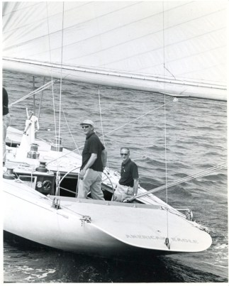 Bill Cox with Bill Stetson at helm, photo by Stephen Lirakis