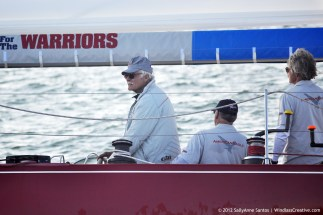 Ted Turner at the helm of American Eagle (US-21) with Gary Jobson and Herb Marshall racing at 2012 12mR North American Championship at Newport, RI. Photo by: SallyAnne Santos | Windlass Creative