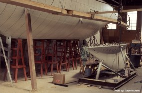 Courageous' plated hull and keel ready to be mated