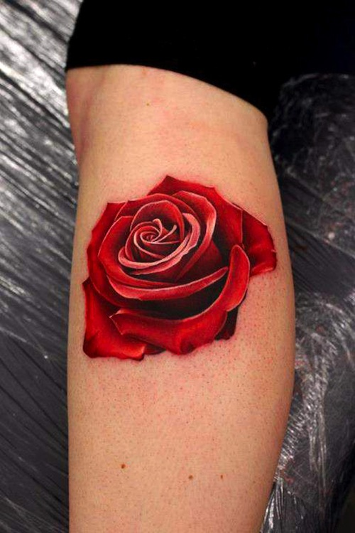 Rose Tattoo With Black Leaves