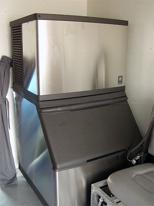 Ice machine inside Alcor transport vehicle