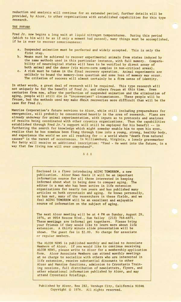 Alcor News August 1976