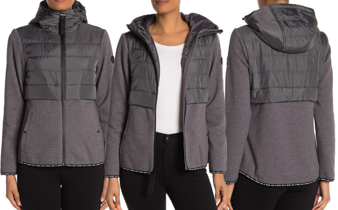 michael kors hooded quilted knit zip