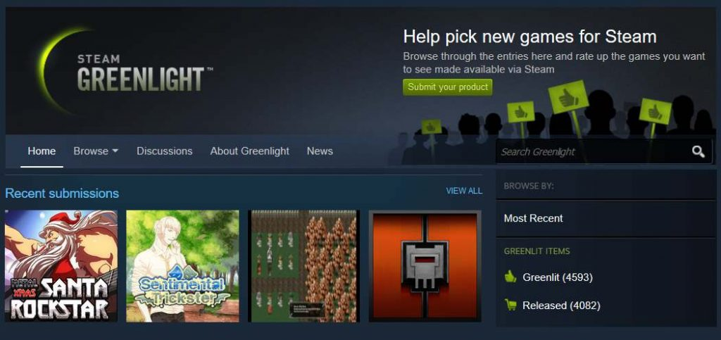 Steam Greenlight as seen on Steam