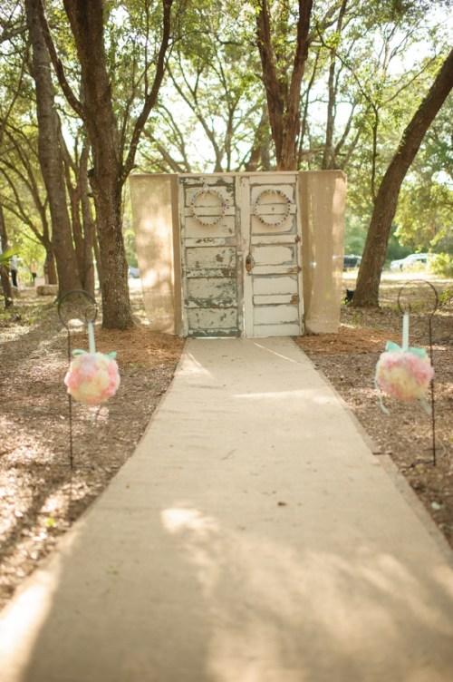 repurposed doors ceremony backdrop weddingfor1000.com