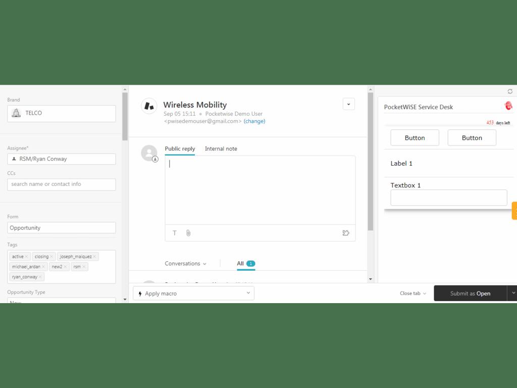 PocketWISE Service Desk (Multiple Forms) App Integration