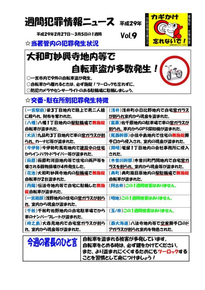 週間犯罪情報ニュース No.9