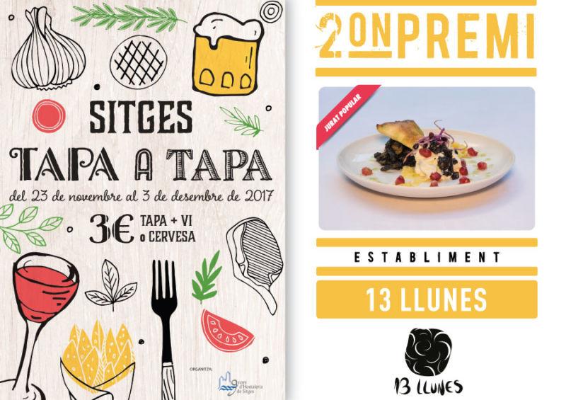 13 Llunes 2º premio Sitges Tapa a Tapa por el jurado popular en su edición de noviembre 2017