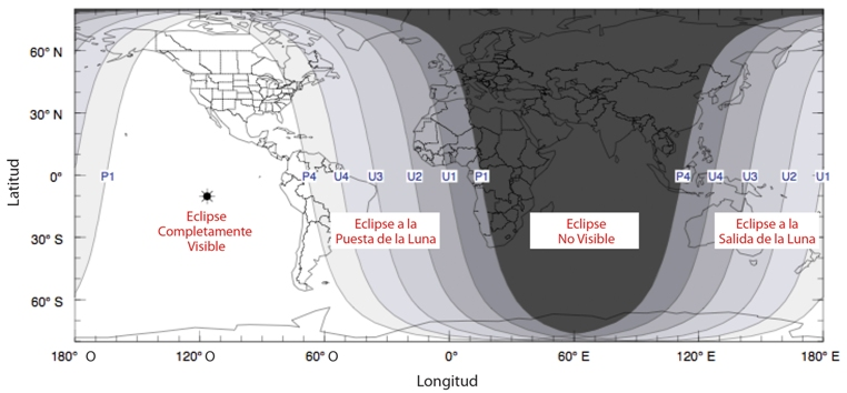 Map of eclipse visiblity around the world