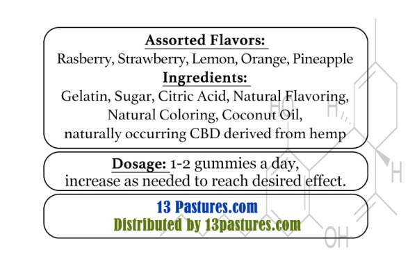 13 pastures CBD Gummy Label Details