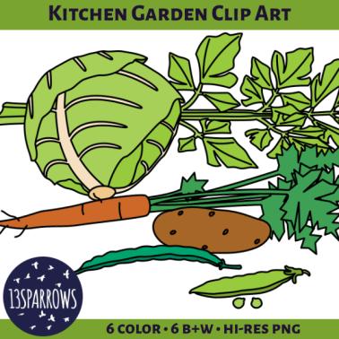 kitchen garden clip art tpt preview