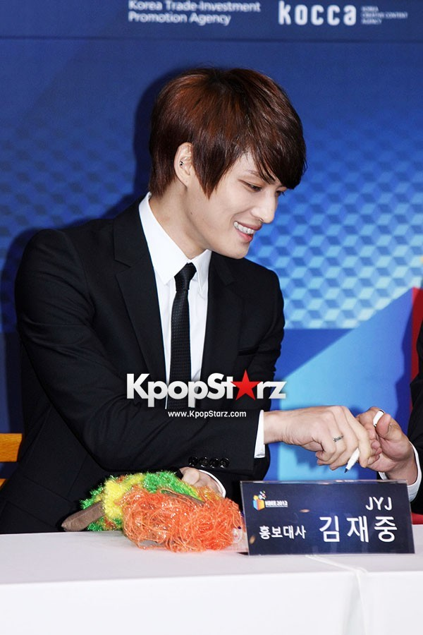 JYJ Jaejoong Shows Off his Charming Looks at Press Conference for KBEE 2012 [PHOTOS] : Photos : KpopStarz