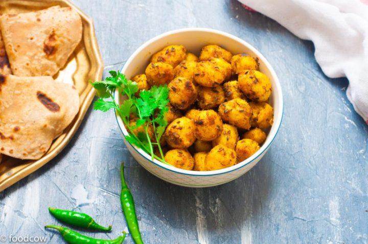 Masala Baby Potato Fry Recipe - Roasted New Potatoes in Indian Spices.Vegetarian Everyday Simple Sabzi best served with Dal and Rice/Roti