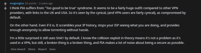 positive-comments-about-pia-vpn-on-Reddit