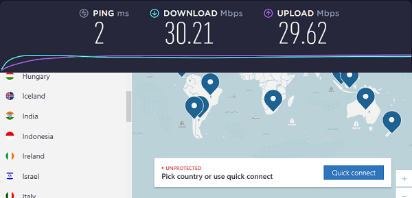 Speed ​​test result without connection to NordVPN