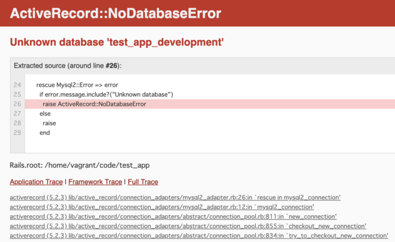 ActiveRecord::NoDatabaseError Unknown database 'test_app_development'