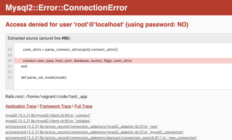 Mysql2::Error::ConnectionError Access denied for user 'root'@'localhost' (using password: NO)
