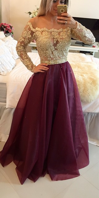2016 Long Sleeves Prom Dresses Gold Illusion Lace Beaded Burgundy A-line Gorgeous Evening Gowns on Luulla