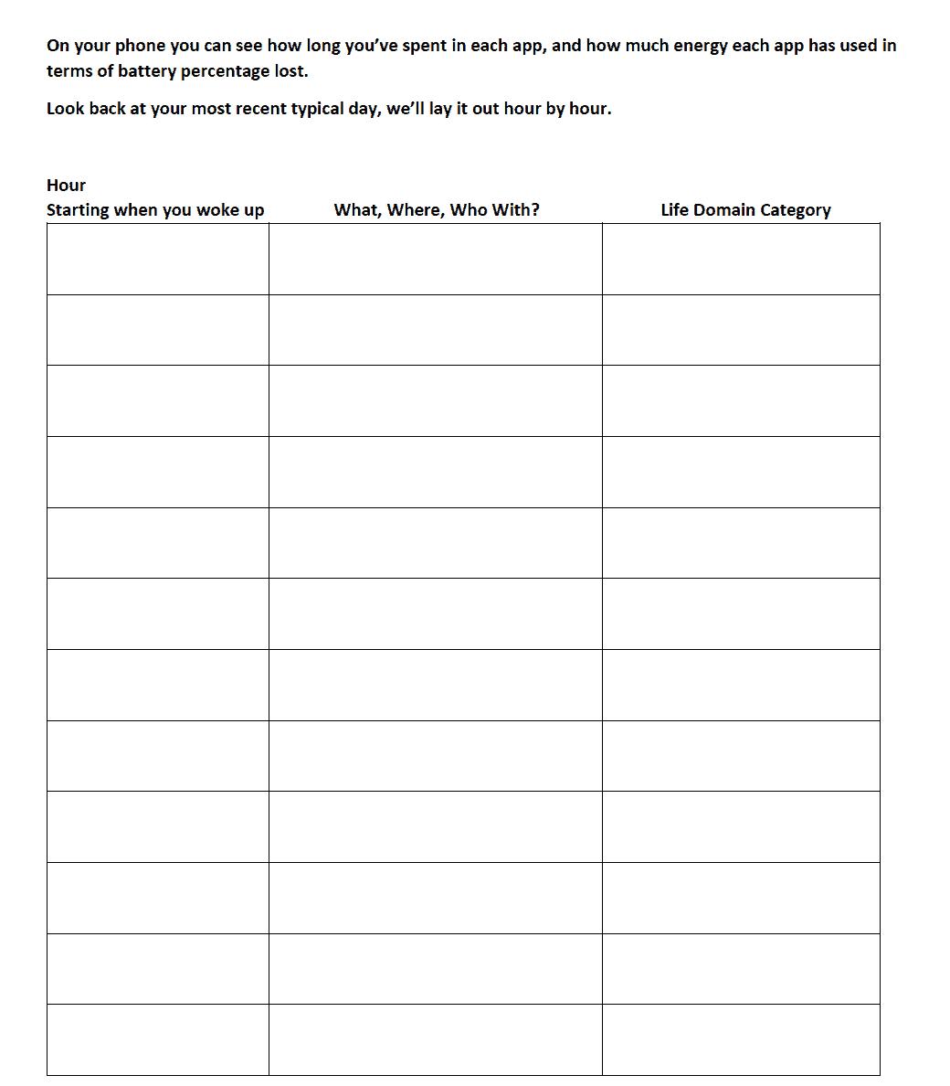 Values Exploration Worksheet