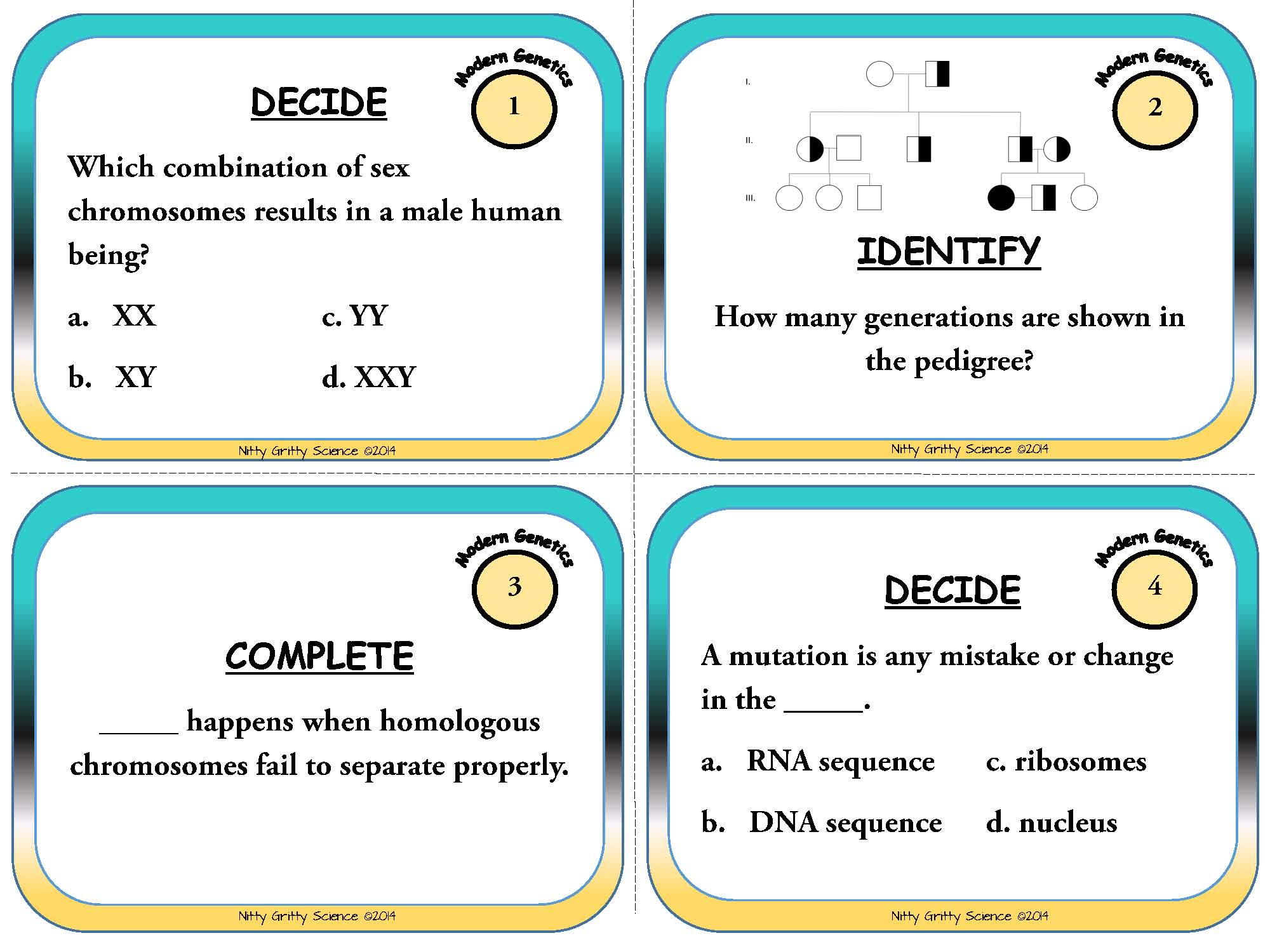Modern Genetics Life Science Task Cards