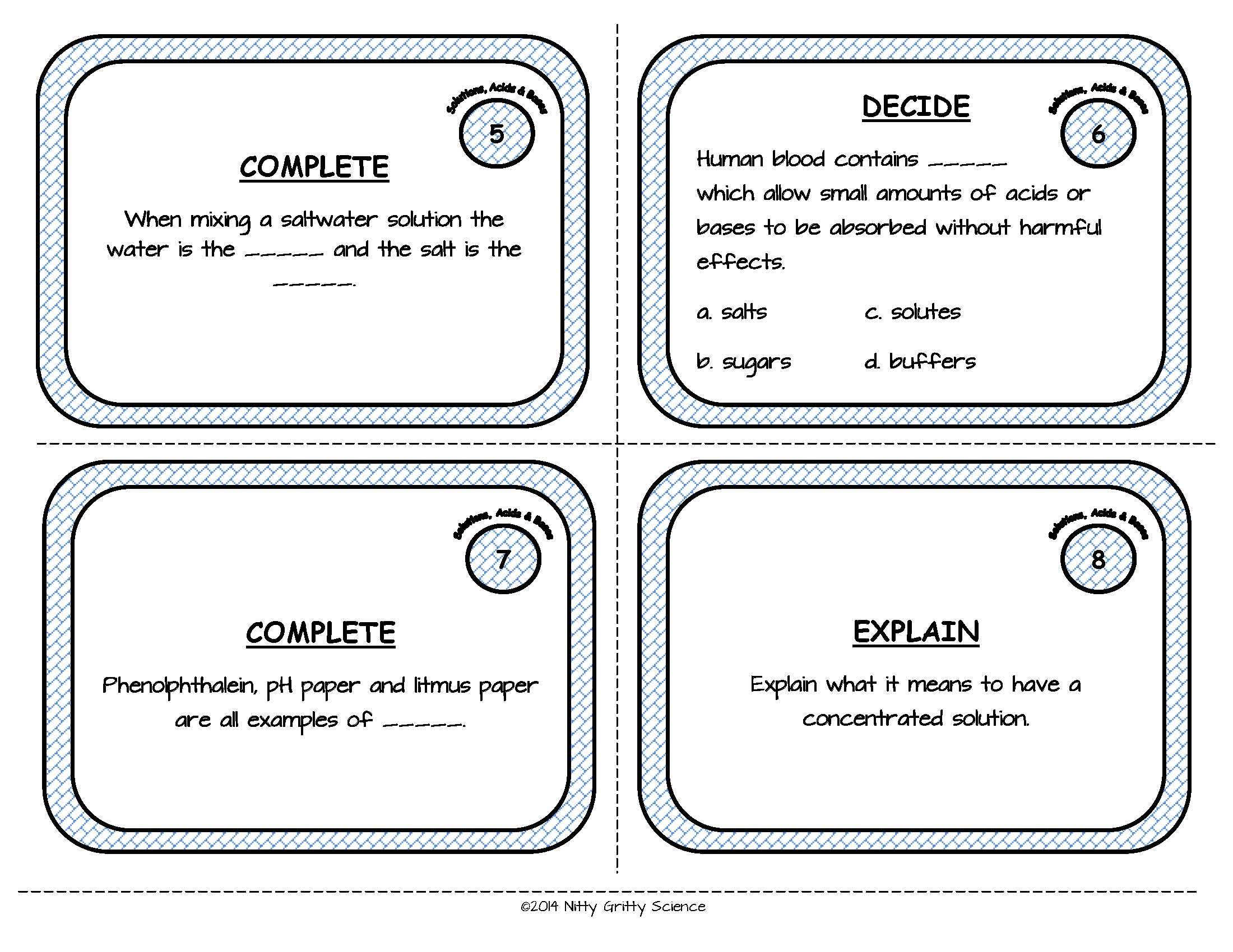 Solutions Acids And Bases Physical Science Task Cards
