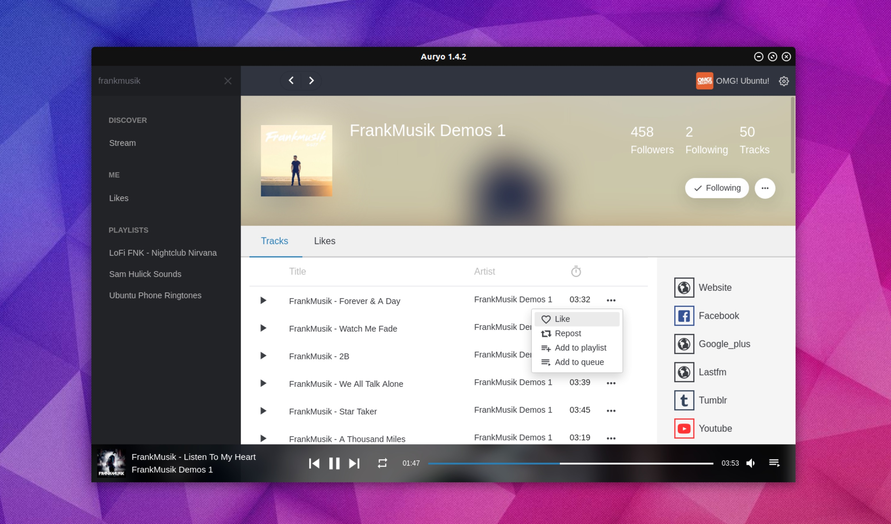 Auryo is a Desktop SoundCloud App that Works on Linux