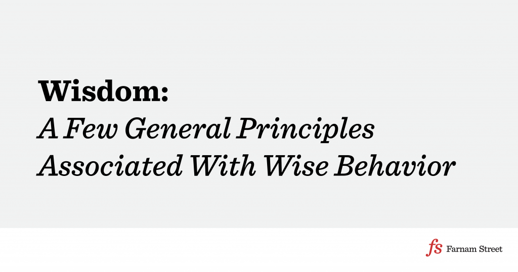 A Few General Principles Associated With Wise Behavior