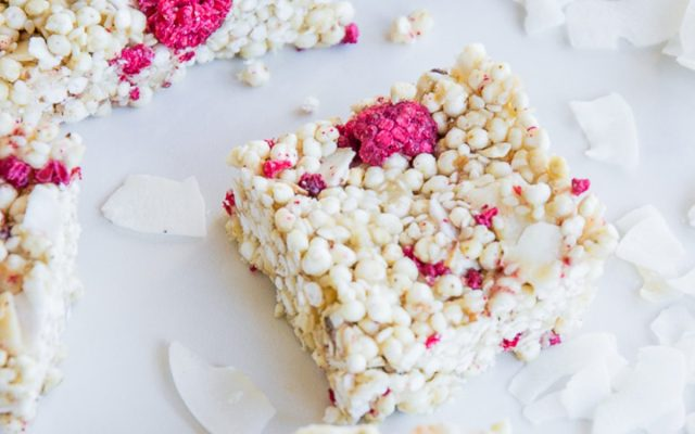 Raspberry and Tahini Puffed Millet Squares