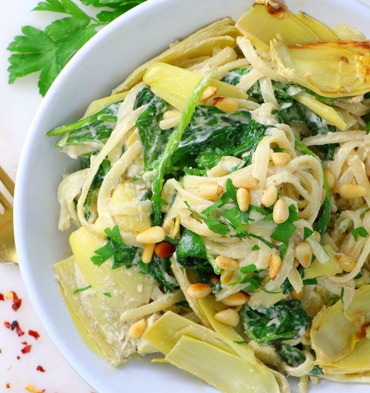 Vegan Spinach Artichoke Pasta with Garlic Cream Sauce