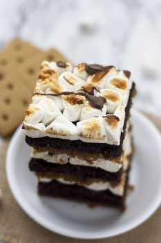 S'mores Brownies stacked