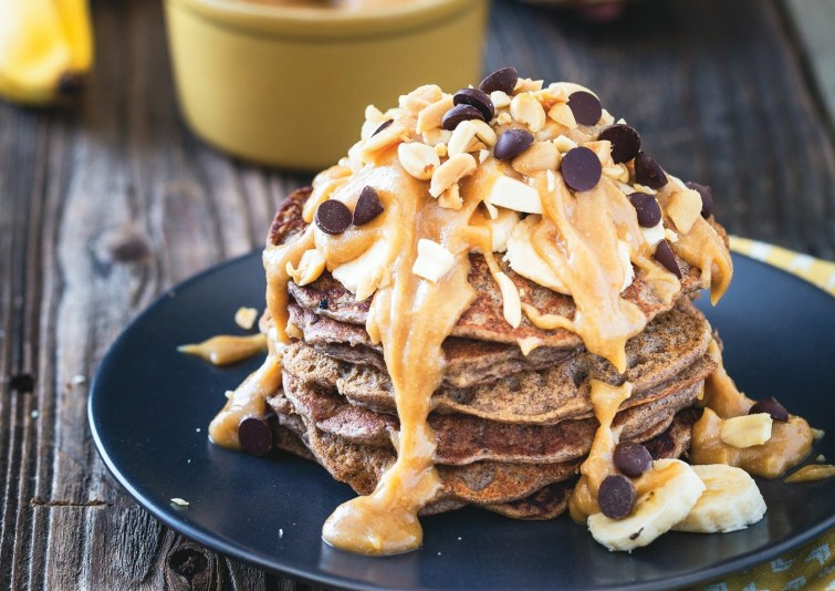 Buckwheat Banana Bread Pancakes with Peanut Butter Syrup
