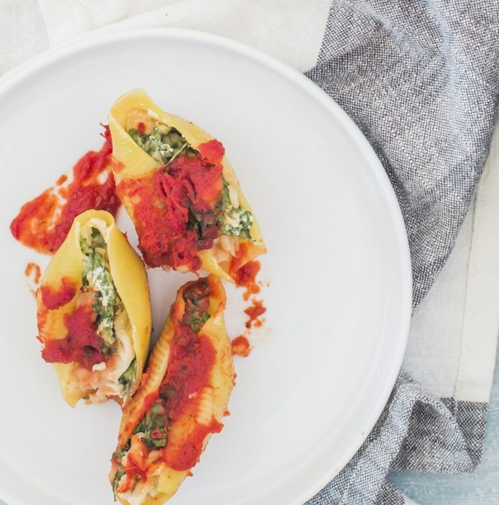 Vegan Kale Stuffed Shells with Marinara