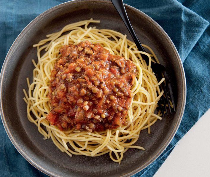Vegan Lentil Bolognese with Spaghetti