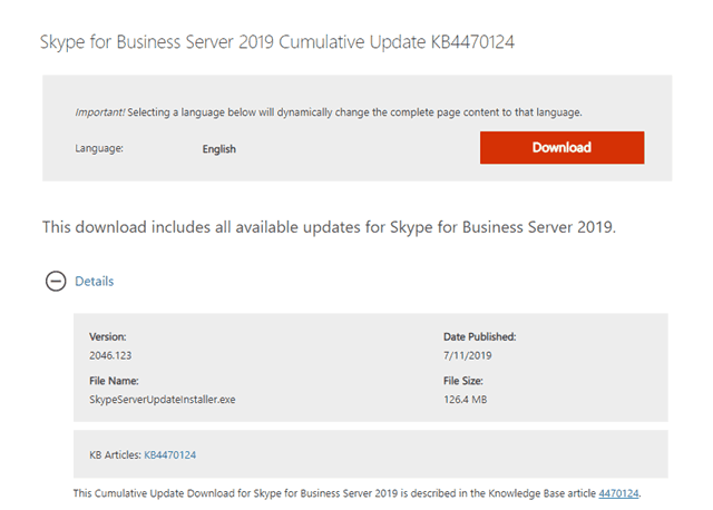 Skype for Business Server 2019 Cumulative Update 1 (CU1) is now available - Tom Talks