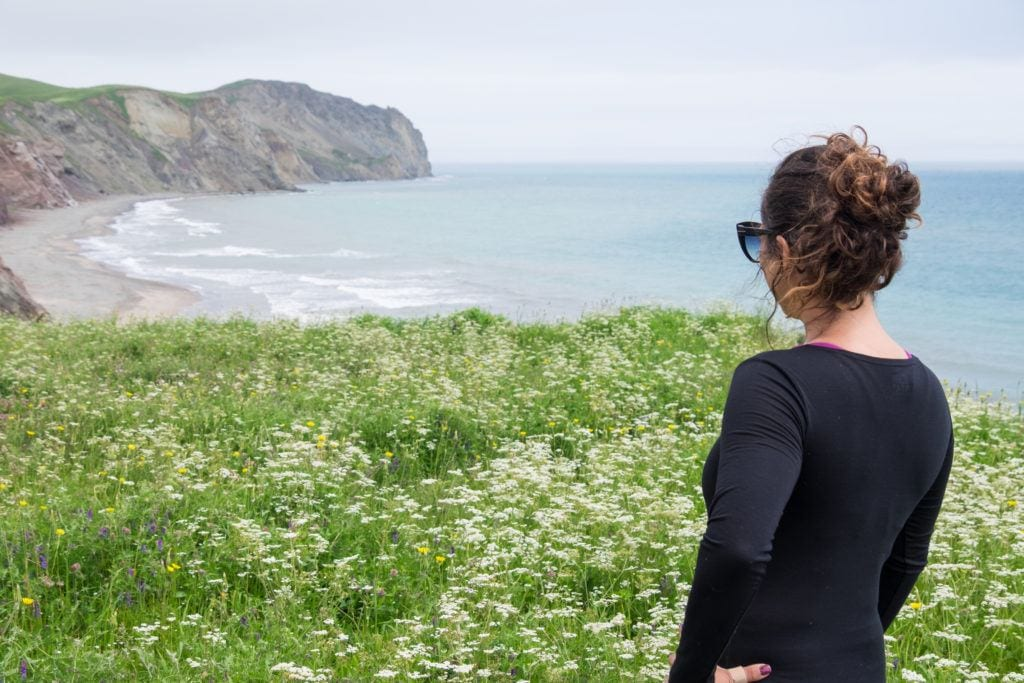 Kate stands in front of a field of wildflowers and faces cliffs and a rocky beach in the distance.