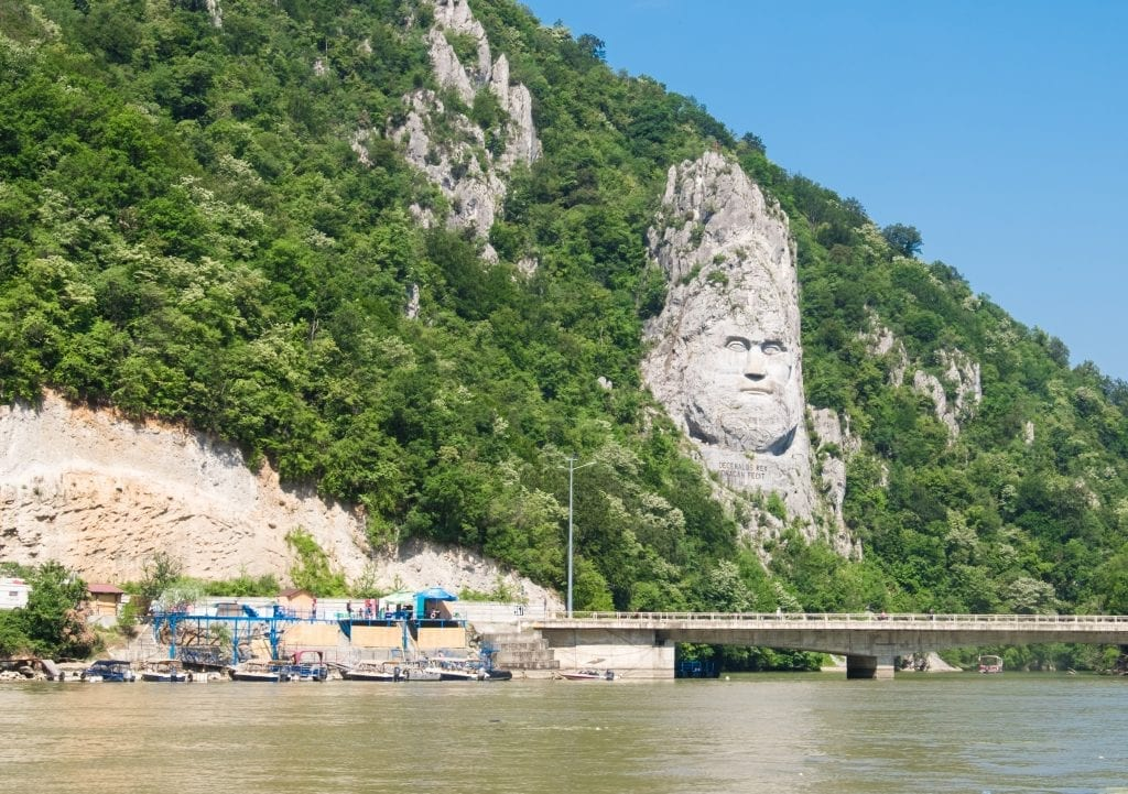 A face carved into the limestone cliffs on the Romanian side of the Danube.