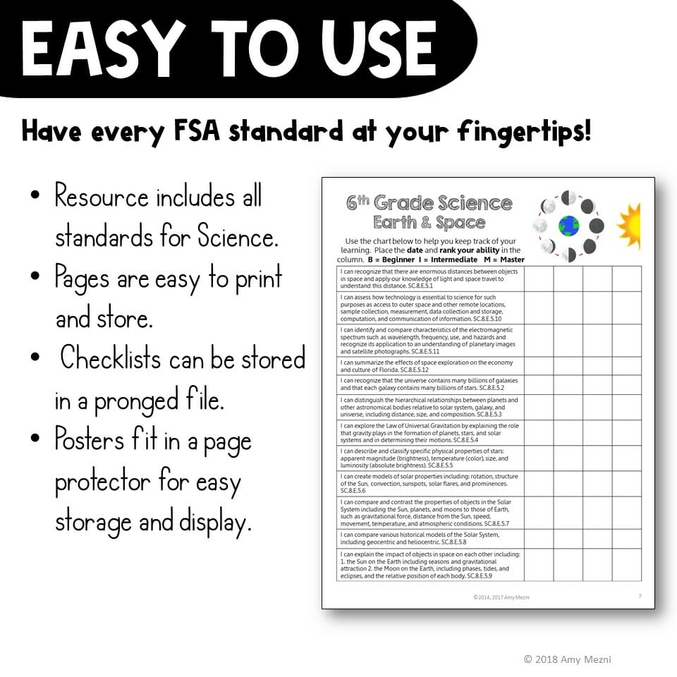 hight resolution of Earth \u0026 Space Science Florida Standards Posters \u0026 Checklists Bundle -  Teaching Resources and Lesson Plans - Teaching Ideas 4U by Amy Mezni